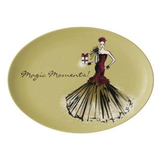 Christmas Fashion Illustration with parcel Porcelain Serving Platter