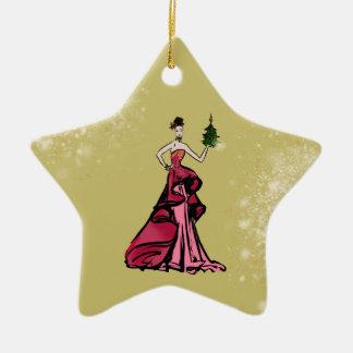 Christmas Fashion Illustration with tree Ceramic Ornament