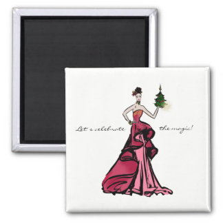 Christmas Fashion Illustration with tree Magnet