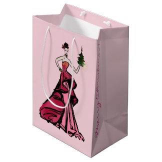 Christmas Fashion Illustration with tree Medium Gift Bag
