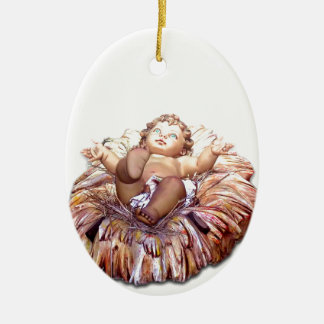 Christmas favor Baby Jesus in Bethlehem Ceramic Ornament