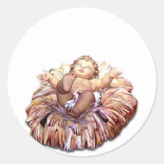 Christmas favor Baby Jesus in Bethlehem Classic Round Sticker