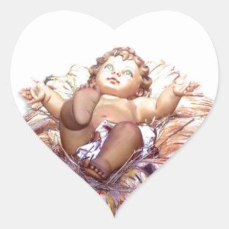 Christmas favor Baby Jesus in Bethlehem Heart Sticker