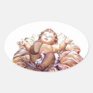Christmas favor Baby Jesus in Bethlehem Oval Sticker