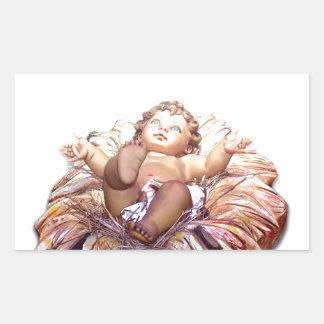 Christmas favor Baby Jesus in Bethlehem Rectangular Sticker