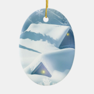 christmas favor snowing houses ceramic ornament