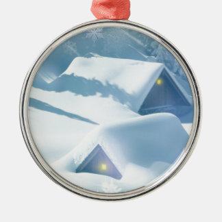 christmas favor snowing houses metal ornament