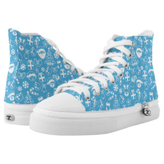 Christmas Favorites Blue Santa Elf Snowman Pattern High Tops