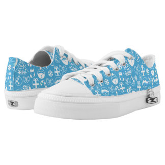 Christmas Favorites Blue Santa Elf Snowman Pattern Low Tops