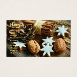 Christmas Festive Food. Cinnamon, Nuts and Stars Business Card