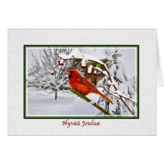 Christmas, Finnish, Cardinal Bird, Snow, Card