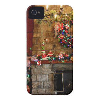 Christmas Fire Place Scene iPhone 4 Case-Mate Cases