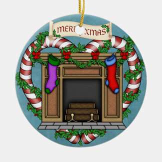 Christmas fireplace ceramic ornament