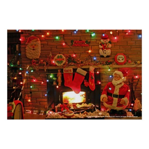 CHRISTMAS FIREPLACE POSTERS