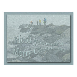 Christmas Fishing on the Jetty Items Postcard