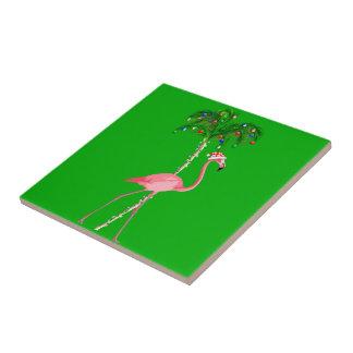 Christmas Flamingo Ceramic Tile