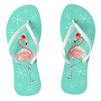 Christmas Flamingo flip flops