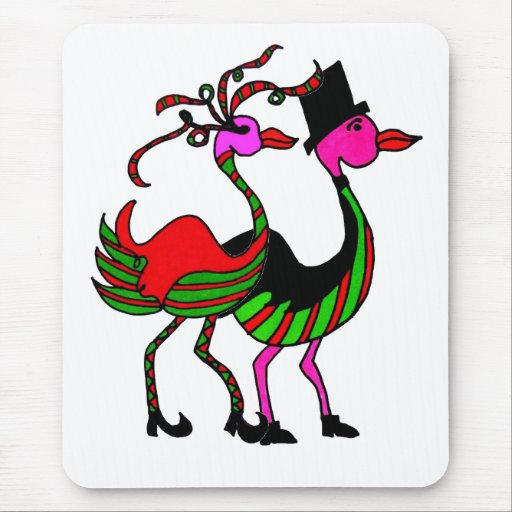 Christmas Flamingo Party Pair Mousepads