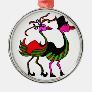 Christmas Flamingo Party Pair Silver-Colored Round Decoration