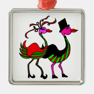 Christmas Flamingo Party Pair Silver-Colored Square Decoration
