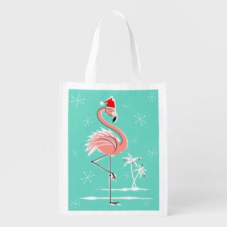 Christmas Flamingo reusable bag