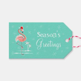 Christmas Flamingo side Season's Greetings