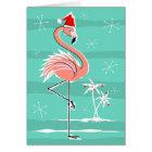 Christmas Flamingo Stripe Happy Holidays Card