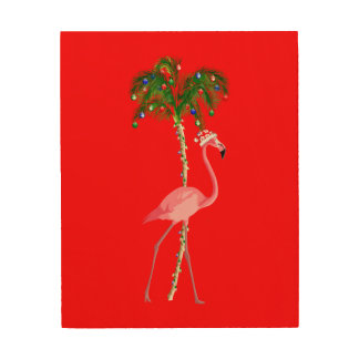 Christmas Flamingo Wood Print