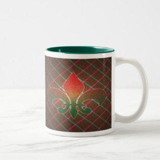 Christmas Fleur de Lis Two-Tone Coffee Mug