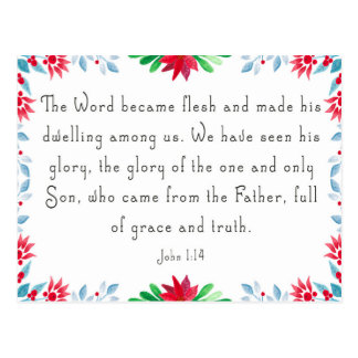 Christmas Floral Bible Verse Postcard