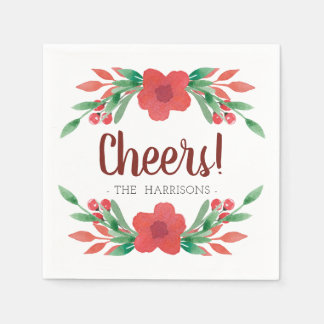 Christmas Floral Cheers Personalised Napkins Paper Serviettes