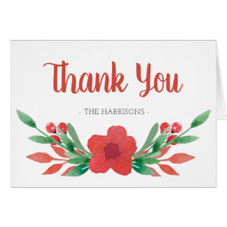 Christmas Floral Family Name Thank You Note Card