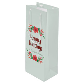 Christmas Floral Personalised Wine Gift Bag