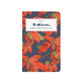 Christmas Floral Poinsettia Personalized Journal
