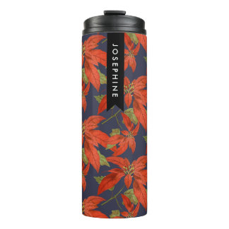Christmas Floral Poinsettia Personalized Name Thermal Tumbler