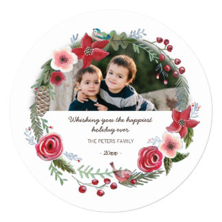 Christmas Floral Wreath Flowers |Invitation Circle Card