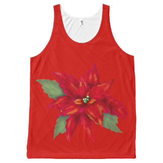 CHRISTMAS FLOWER ALONE All-Over Printed UnisexTank All-Over Print Tank Top