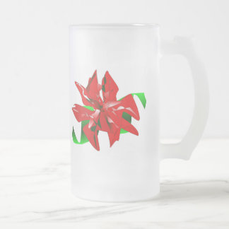 Christmas Flower Customizable 16 Oz Frosted Glass Beer Mug