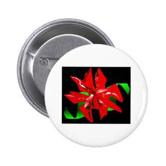 Christmas Flower Customizable Pinback Button