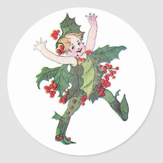 Christmas Flower Fairies Elizabeth Gordon Classic Round Sticker