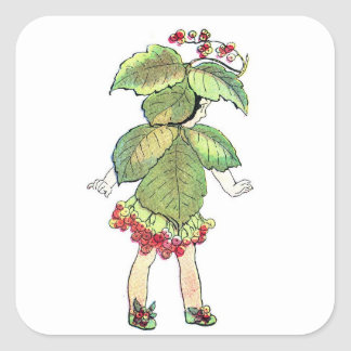 Christmas Flower Fairies Elizabeth Gordon Square Sticker
