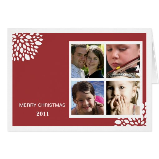 Christmas Flower Folded Holiday Card-red