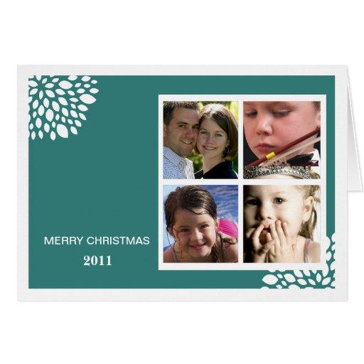 Christmas Flower Folded Holiday Card-teal
