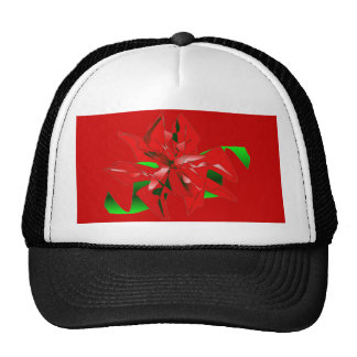 Christmas Flower Red Hat Customizable Hat