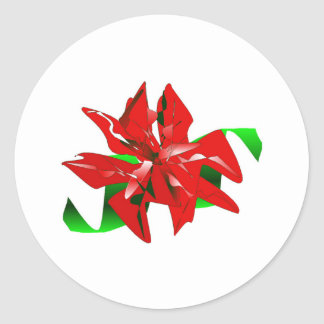 Christmas Flower Sticker Customizable Round Stickers