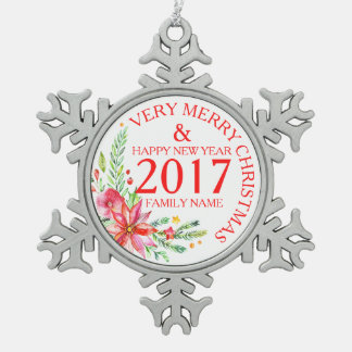 Christmas Flowers Bouquet & Text Template Snowflake Pewter Christmas Ornament