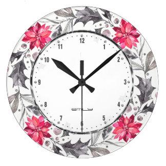 Christmas Flowers & Leafs Wreath Large Clock