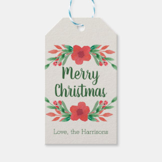 Christmas Flowers Personalised Gift Tags