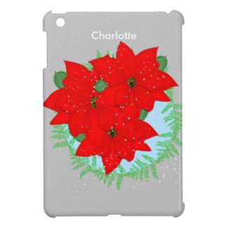 Christmas Flowers Red Poinsettia Festive Wreath iPad Mini Case