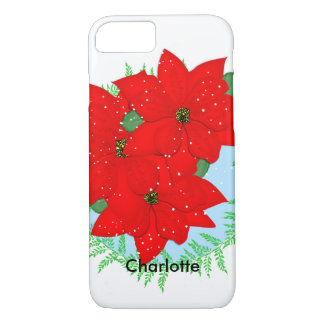 Christmas Flowers Red Poinsettia Festive Wreath iPhone 8/7 Case